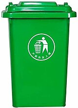 50L Mülleimer, grün mit Deckel Kunststoff