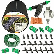 50m CS Perlschlauch Startup Z14 mit Bewässerungsuhr,Wasserfilter,Druckregulator,+20m Gartenschlauch mit Anschlüssen und umfangreichem Zubhör