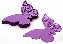50pcs Butterfly Place Weinglas Cup Papierkarte für Hochzeit Hauptdekorationen