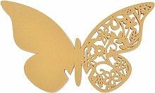 50pcs Laser Geschnitten Schmetterling Glas Name Platzkarten Namenkarten Perlglanz Hochzeit - Gelb