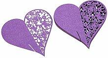 50pcs Lila Herz Weinglas Name Platzkarten Schmetterling Hochzeitsdekoration