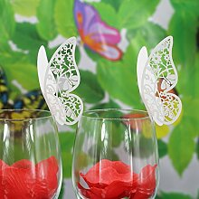 50Stk. Schmetterling Weinglas Name Platzkarten Hochzeit Topper Dekor ice Weiss