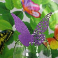 50Stk. Schmetterling Weinglas Namen Platz Karten Hochzeits Party lila Dekor
