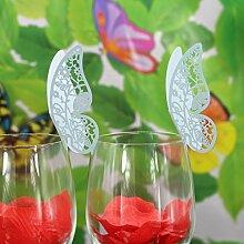 50Stk. Schmetterling Weinglas Namen Platz Karten Hochzeitsbecher Topper Dekor blau