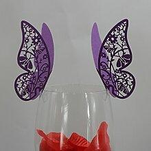 50Stk. Schmetterling Weinglas Namen Platz Karten Hochzeitsbecher Topper Dekor lila