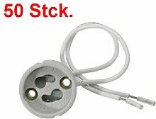 50x GU10 Keramik Fassung für Halogen und LED Lampen Sockel Fassung m. Kabel