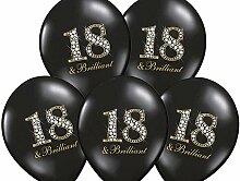 50x Luftballon 18. Geburtstag schwarz Briliant Partydekoration