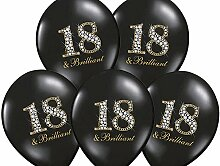 50x Luftballon 18. Geburtstag schwarz Briliant
