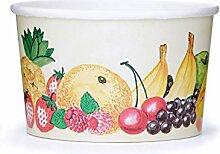 50x OCTOPUS Eisbecher, Eis- Pappbecher, Früchtebecher mit 260 ml Füllvolumen für 2 Kugeln Eis