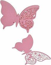 50x Schmetterling Weinglas Tabellennamen Platzkarte Hochzeits Weihnachts Zugunsten Rosa