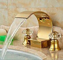 5151buyworld mit Wasserfall Wasserhahn, vergoldet,