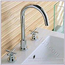 5151buyworld Qualität Wasserhahn Retail–Luxus Messing Wasserhahn Hot & Cold Wash Mixer Doppel Griff Armatur für Badezimmer Küche Home Gaden (begriffsklärung), hellgrau, chrom