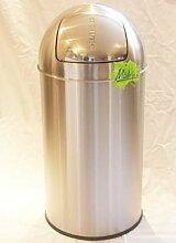 52 Liter PUSH Abfalleimer Mülleimer Edelstahl mattiert, original Made for us®