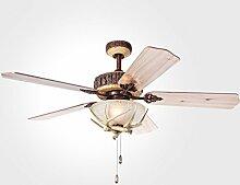 52 Zoll kreative Geweihe Retro Art-Deckenventilator-Ventilator-Ventilator-europäischer antiker pastoraler moderner Ventilator-Kronleuchter