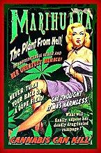 527 LOUPNY Vintage Metallschild Marihuana Pflanze