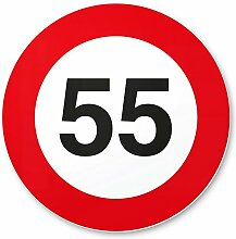 55. Geburtstag Schild - Verkehrsschild (20 x 20 cm), Geschenk zum 55. Geburtstag bester Freund / Freundin, Geschenkidee Geburtstagsgeschenk zum 55ten Geschenk 55er Geburtstagsparty