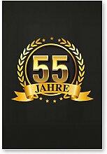 55 Jahre Gold, Schild - Geschenk 55. Geburtstag, Geschenkidee Geburtstagsgeschenk zum Fünfundfünfzigsten, Geburtstagsdeko / Partydeko / Party Zubehör / Geburtstagskarte