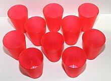 55 Plastik Trinkbecher 0,4 l - rot - Mehrwegtrinkbecher / Partybecher / Becher