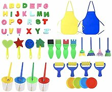 56 Stück Schwamm Malerei Pinsel Set Kinder