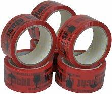 576 Rollen Packband Klebeband Vorsicht Glas Rot