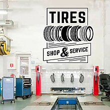 57x62cm, Selbstklebender Aufkleber, Reifen Shop &