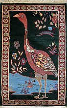 58x91 Pak Persian Area Rug with Wool Pile - Pictorial Hunting Shikargah Design   100% Original Hand-Knotted in Green,Red,Orange colors   a 61 x 91 Rectangular Rug