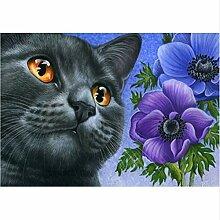 5D Diy Diamant Malerei Glück Katze Und Blume Hand