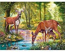 5D Diy Diamant Stickerei Wald Hirsch Trinken