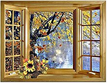 5D Diy Diamantmalerei Fenster außerhalb Baum See