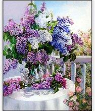5D Diy Diamantmalerei Lila Lavendel Blumenvase