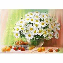 5D DIY Weiß Chrysantheme Mosaik Bild Kreuzstich
