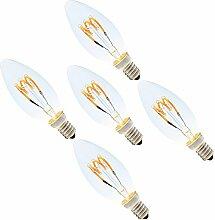 5er 3W Dimmbar E14 C35 LED Spiral Filament