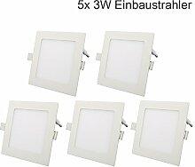 5er 3W Ultraslim Slim LED Panel Eckig