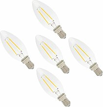5er C35 E14 Led Lampe 2W Filament Gluehfaden LED