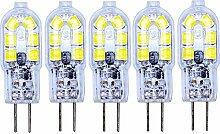 5er G4 LED Lampe 2W AC/DC 12V Kaltweiß 3000K
