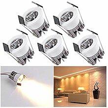 5er LED Einbaustrahler Klein Mini Set,Elitlife 3W