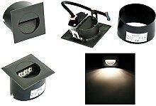 5er LED Wand Treppen Stufen Wege Dauer Nachtlicht Einbau Spot Strahler Lina Aluminium 230V 1,2 Watt IP65 EEK: A+ Lichtfarbe: Kaltweiss Montagedose witterungsbeständig Zuleitung: 15cm Kabel