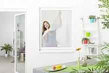5er Pack Fliegengitter Fenster Polyester 130 x 150 cm inkl. Klettband individuell kürzbar durchsichtig weiß 5er Se