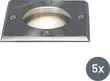 5er-Set Bodenstrahler Stahl IP65 - Basic Square