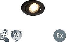 5er Set Einbaustrahler schwarz inkl. LED 3-stufig