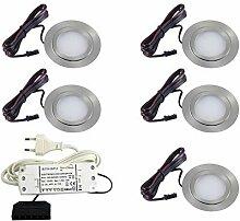 5er Set flache LED Einbauleuchte Möbelleuchte