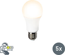 5er Set LED-Leuchte A60 12W E27 3in1