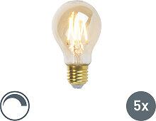 5er Set LED-Leuchte E27 5W 360lm ST64 A60 dimmbar