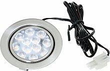 5er Set LED Möbeleinbauspot Luisa 12Volt 3Watt inkl. Anschlusskabel mit Stecker Farbe: Edelstahl gebürstet.