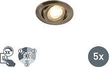 5er Set moderne LED-Einbaustrahler aus Bronze