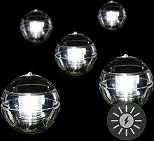 5er Set Solar Schwimmkugel 2 LED weiß Solarlampe Kugel 12 x 12 x 12,5 cm Teichbeleuchtung Solarkugel Dekolicht Solarbeleuchtung