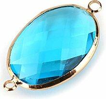 5er-Türkis-Blau-Kristall 14k Vergoldet Oval