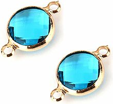 5er-Türkis-Blau-Kristall 14k Vergoldet Runde