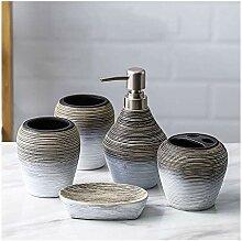 5pc Vintage Keramik Waschbecken Zubehör Set