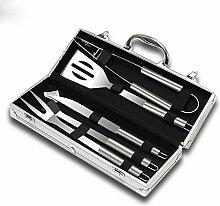 5pcs Edelstahl BBQ Tool Set, Aluminium